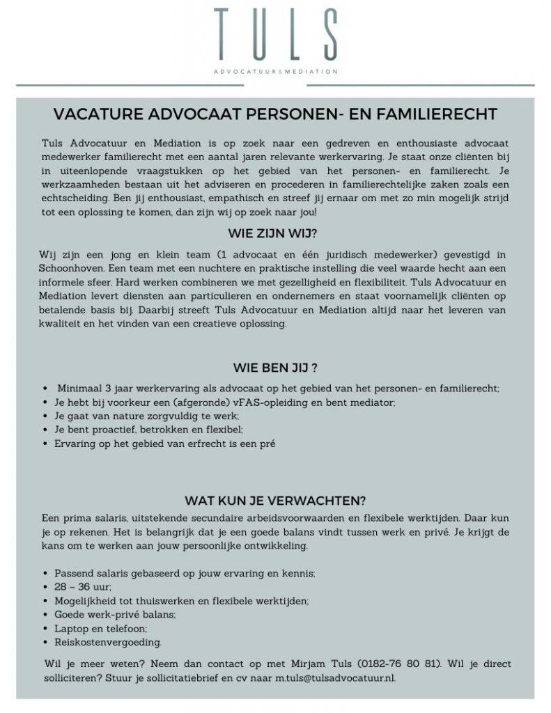 Vacature Tuls Advocatuur en Mediation (1)